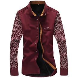 Wholesale New Warm Men Shirt Plus Velvet Patchwork Fashion Casual Men s Shirt Necessary Shirt For Male Plus Asian Size M XL MCL1146