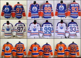 Wholesale Cheap Connor McDavid Wayne Gretzky Edmonton Oilers NHL Ice Hockey Blue Home White Away Orange Third Mens Premier Stitched Jerseys