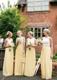 Long Chiffon Bridesmaid Dresses 2016 Lace Top A line Wedding Bridesmaid Formal Dress Custom made Cheap Formal Dress