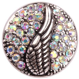 Wholesale Angle Wing Ginger Snap DIY Button With Crystal AB Rhinestone Antique Silver