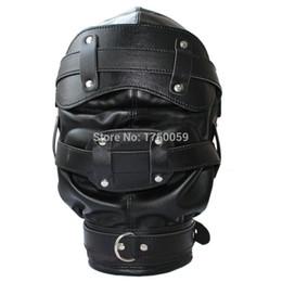 Wholesale Bondage Soft Leather Mask Hood Dildo Gag Padded Locking Blindfold Sex Toys For Couple Adult Games