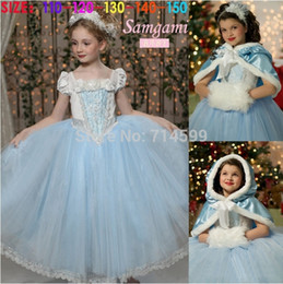 Wholesale 2015 New Cinderella Kids Dress Retail Princess Girl Dress With cape wedding For Cinderella Cosplay Costume Girl Fancy Dresses