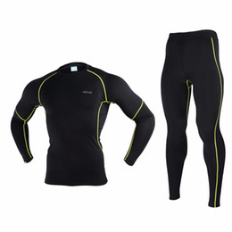 2017 capas base Venta al por mayor-ARSUXEO N56 hombres de bicicleta de base de la capa de invierno térmico caliente compresión de la ropa de bicicletas de bicicletas de deporte Jersey pantalones capas base Rebaja