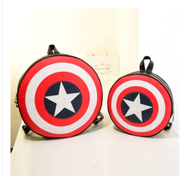 Wholesale-European American Captain America Shield backpack 2015 preppy style students backpack circle school bag#HYW1114