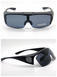 Wholesale-POLARIZED LENS Clip On Flip Up Style Sunglass FIT OVER GLASSES Matte Black Frame