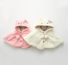 Wholesale Baby Kids Hooded Cloak Winter New Fashion Style Girls Leisure Coat Cute Kitty Modeling Baby Hoodies Outwears Fit Age T1564