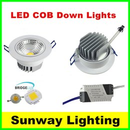 Wholesale Actual Watt Recessed led ceiling down lights Cree cob downlight dimmable downlights w w w w w w adjustable angle LED spot light
