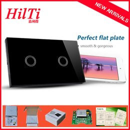 Wholesale China Hilti Hot new design Wall Light Switch Electrical switches Cyrstal panel Black White Style US AU Model Touch Button Switch