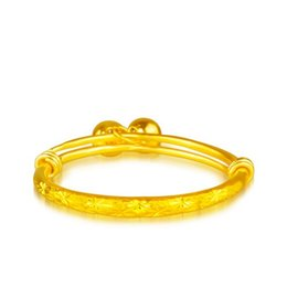 Wholesale Star Carved Children s Jewelry Classic Solid k Yellow Gold Filled Girl s Bangle Bracelet mm Fashionable Baby Bangle Adjustable