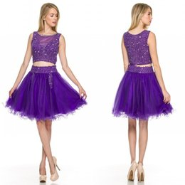 Purple Two Pieces Homecoming Dresses Jewel A line Short Sexy Charming Party Prom Gowns Custom made High Quality