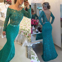 2016 New Arrival Green Lace Evening Dresses Mermaid Sexy Off Shoulder Long Sleeve Sheer Back Beads Ruffles Sweep Train Formal Prom Gowns