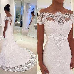 White Full Lace Graden Wedding Dresses Off Shoulders Short Cap Sleeves Vestidos De Novia Custom Made Mermaid Court Train Bridal Gowns