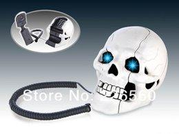 Wholesale Piece White Skull Shape Novelty Telephone Skull Flashing Phone Skull Telephone