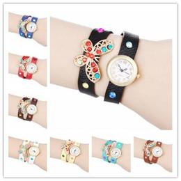 Wholesale 100pcs Stylish Retro Rivet Ladies Quartz Watch Wrap Around Bracelet Clock Long Strap PU Leather with Golden Butterfly Antiqued Design