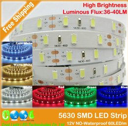New Arrival 5630 SMD LED flexible Strip 12V Non Waterproof 60LED m Bar light Warm white \ White \ bule \ red \ green five color