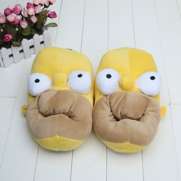 Wholesale Anime The Simpsons Homer Funny Slippers Adult House Home Slippers Warm Indoor Shoes for Unisex Winter New Novelty Cute