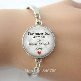 Wholesale The Cure for Autism is Unconditional Love Pendant bangle Autism Jewelry mother s day Puzzle Autistic Gift for Mom charm bangles