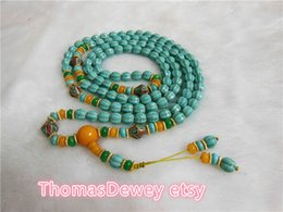 Free shipping -Natural Turquoise Beads Wheel Meditation yoga 108 prayer beads with beeswax mala necklace