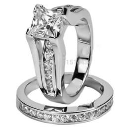 Rhodium Ring Size 5-11 Wedding Band Set Engagement Princess Cut Halo Bridal
