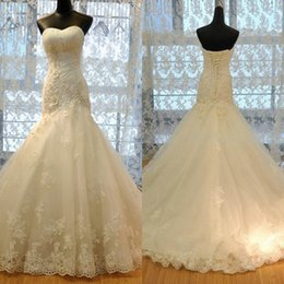 Mermaid Wedding Dresses 2016 Real Image Sweetheart Ruched Appliqued Fashion Bridal Gowns Lace Up Back Vintage Bridal Gown Custom made