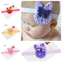 Wholesale Baby Bunny Ears headbands headwear for Easter day baby girls hair bows headband rabbit ears hairband Sequin hair bows
