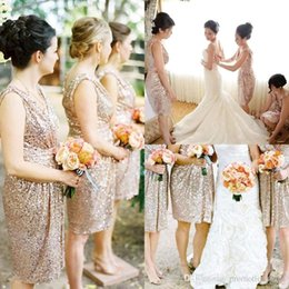 Blingbling Rose Gold Sequins Bridesmaid Dresses Knee Length V Neck Maid of Honor Dresses Beach Garden Formal Party Dresses BO8247