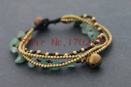 Wholesale-Natural Stone Handmade Jewelry Women Green Aventurine Knotted Woven Brass Bell Bracelets For Female Wholesale Jewelry Bijoux