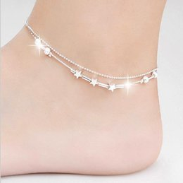 Wholesale Sexy star ankle bracelets beach jewelry new Sterling silver Double layers anklets jewelry for Women Boot Foot Jewelry E4569