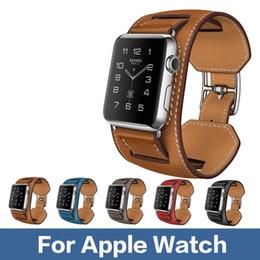 Promotion bracelet en cuir véritable Bracelet Bracelet en Cuir pour Montre Apple 1: 1 Bracelet Tour Cuff de qualité Original Cuir véritable 38mm et 42mm Disponible pour iwatch