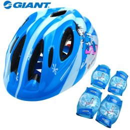 2015 New GIANT Kid's Outdoor Sports Riding Bike Safety Helmet With 2 Elbow&Knee Pads ABS Cycling Helmet With LED Blue