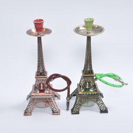 Wholesale 1601 The Eiffel Tower Hookah Red Green Ancient grinder Whole set Zinc alloy shisha hookah smoking pipe Complete set the best price