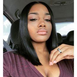 Unprocessed Virgin Human Hair Wigs for Black Women Lace Front Wigs Brazilian Human Hair Straight Bob Wig Natural Color Medium Cap Bellahair