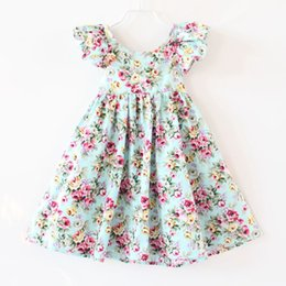 Wholesale dress kids blue floral baby girls dress Fluffy sleeve backless baby girls outfit Australia style dresses for girls