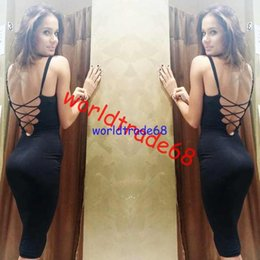 Hot Sale bodycon dress Summer Women Casual v neck dress backless cross straps sleeveless midi dress