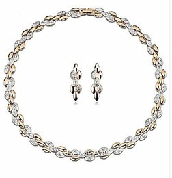 Top Quality Fashion Jewelry Two Tone Zinc Alloy and CZ Crysta Rhinestone Bridall Necklace and Earrings Jewelry Set