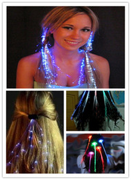 New 5 Colors Flashing Light braids LED Light Color Silk Fiber Optic Wire Hairpin For Dance Bar Starlight Strands Illuminating