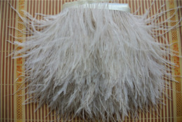 Free Shipping Wholesale 10yards lot 1 ply light brown ostrich feather trimming fringe 5-6inch in width