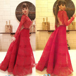 Singer Myriam Fares Red Carpet Celebrity Dresses Long Sleeves Backless Jewel Neck A Line Floor Length Evening Party Gowns