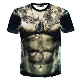 2017 ropa tatuado Cuerpo para hombre desnudo desnudo divertido al por mayor-Verano de la camiseta de la impresión del tatuaje descuento ropa tatuado