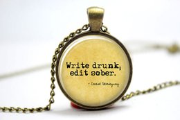 Wholesale 10pcs Ernest Hemingway quot Write drunk edit sober quot Necklace Glass Photo Cabochon Necklace