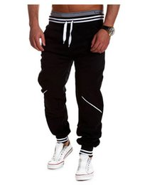 Wholesale-Alisister New fashion men joggers pants skinny sweatpants hip hop jogging trousers 4 style sweat pants mens sport running pants