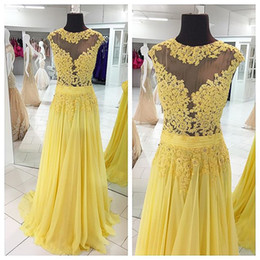 Lace Yellow Prom Dresses 2016 Spring Cheap Evening Dresses Party Gowns Full Length Sheer Prom Dresses Custom Made
