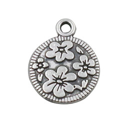 Antique Silver Plated Flowers Raised Round Charms For Wire Bangles AAC725