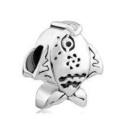 Wholesale and Retail Antique Silver Color Rhodium Plating Animal Sealife Fish Bead Charm Fit Pandora Bracelet
