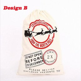 Wholesale Striped Canvas Bag Drawstring - DHL Free Large Canvas Monogrammable Santa Claus Drawstring Bag With Reindeers, Monogramable Christmas Gifts Sack Bags