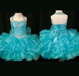 Most Lovely A Line Halter Mini Short Blue Tiered Organza Real Sample Pageant Girls Dresses Crystal Lovely Flower Girls Dress
