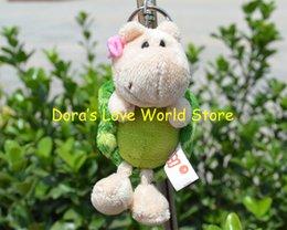 Trousseaux gros fleur en Ligne-Gros-5 Pcs / lot Fleur Tortoise Peluche Pendentif, Keychain / porte-clés en peluche jouet cadeau Livraison gratuite