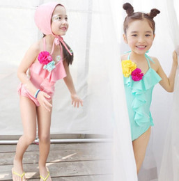 Wholesale Sweet Girls Swimwear Flower Backless One Piece Swimsuits with Hat Kids Beach Wear Children Swim Wear Baby Girl Bathing Suit Swimming Costume