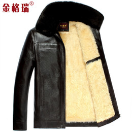 Fall-New autumn and winter men warm thickening faux leather jacket men thermal jackets coats with faux fur collar free shipping