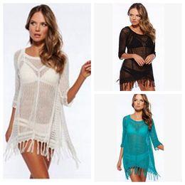 Wholesale 3 design Femme Fashion Sexy en dentelle Glands Crochet robe Bikini Swimsuit Cover Up LJJK56